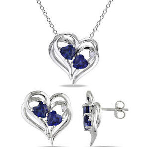 Amour Sterling Silver Created Sapphire and Diamond Necklace & Stud Earrings Set