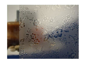 "Clear Etched Flowers Static Cling Window Film, 36"" Wide x 9 ft"