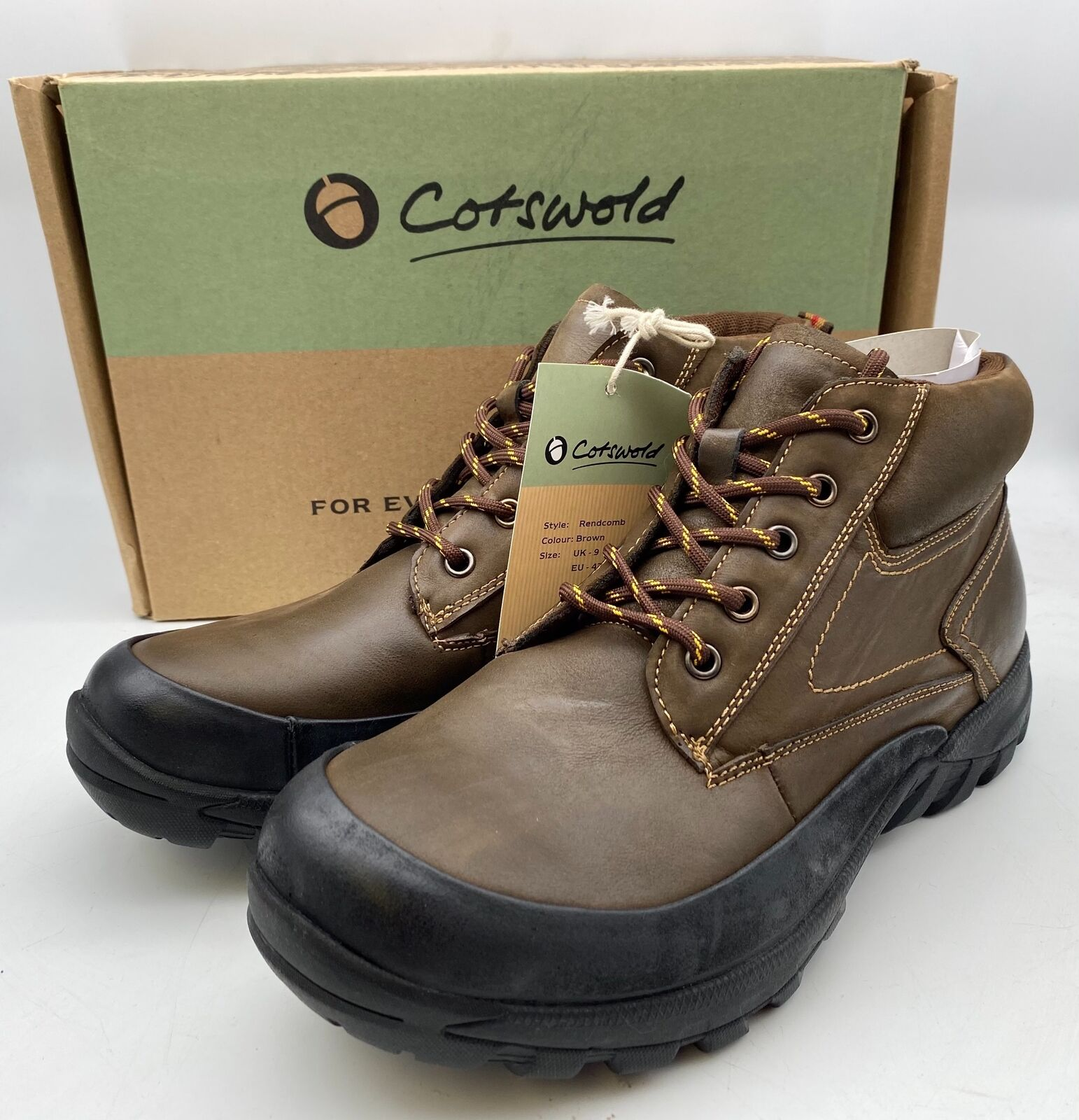 New & Boxed Cotswold Rendcomb Shoes Brown Leather Boots Mens Size UK 9 / EU 43