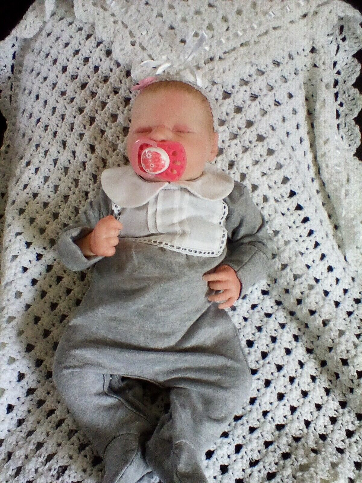 Beautiful reborn baby girl from the sleeping Katie kit by Bountiful Babies