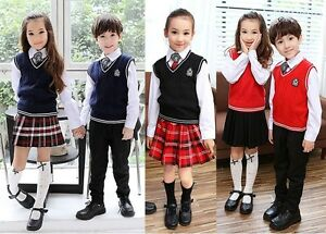 British Style Kid Boy Girl School Uniform Outfit Sets Shirt Sweater