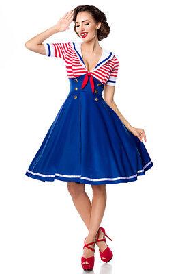 Swing Kleid im Marinelook Marinekleid ausgestellter Rockteil Retro Rockabilly