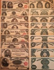 Copy Reproduction 1891 9 Piece Treasury Set US Currency Note