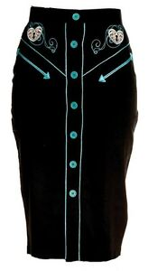 BLACK-WESTERN-S-XS-PENCIL-SKIRT-VINTAGE-STEAMPUNK-HELLBUNNY-EMBROIDERED-BLUE