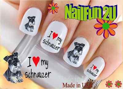 "Nail Art WaterSlide Decals RTG Set#148 ""Schnauzer I love"" Transfer Stckr"