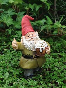 Miniature-Dollhouse-FAIRY-GARDEN-Cheers-Gnome-Drinking-Beer-Pick-NEW