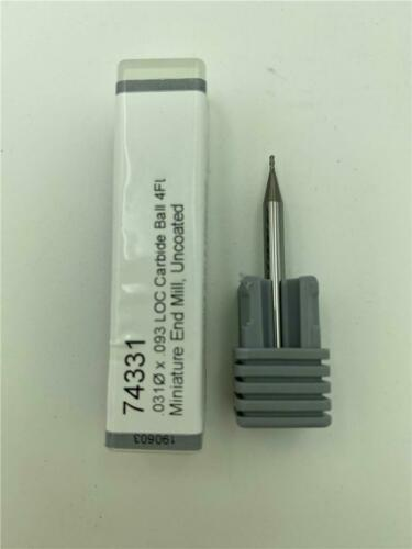 Harvey Tool 74331 .031 x .093 LOC Carbide Ball 4FL Miniature End Mill Uncoated