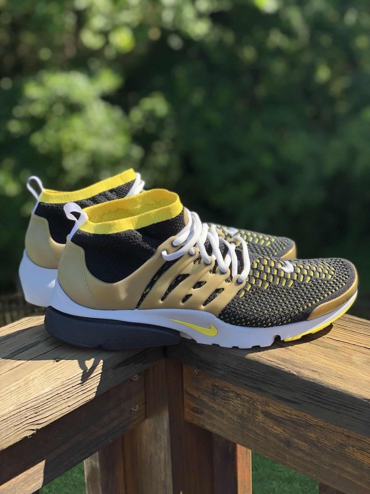 Nike Air Presto Flyknit Ultra Black Yellow Gold Men's 835570-007 Size 13 LIMITED