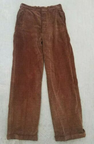 1930's-1940's Vintage Men's Brown Corduroy Trouser
