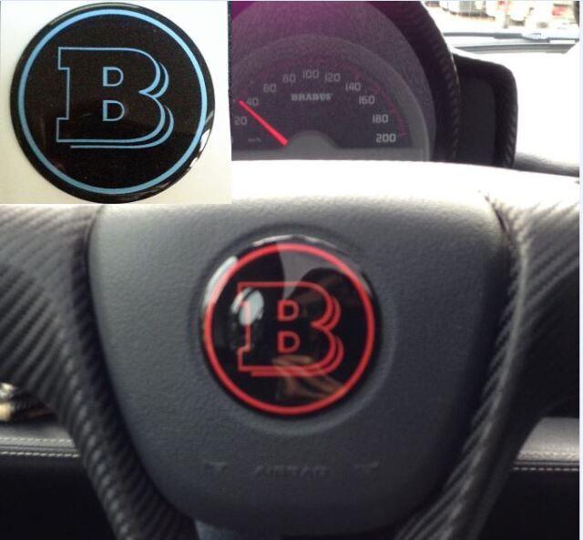 Adesivo Resinato Sticker 3D BRABUS Smart  blu puffo per volante