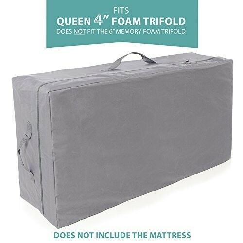 Carry Case TriFold Mattress Queen Custom Fits Convenient Cary Handle Stitched