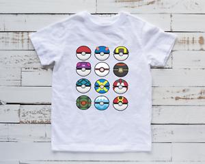Kids Pokémon Ball T-Shirt Cool Gaming Birthday Top Gift Idea Inspired New