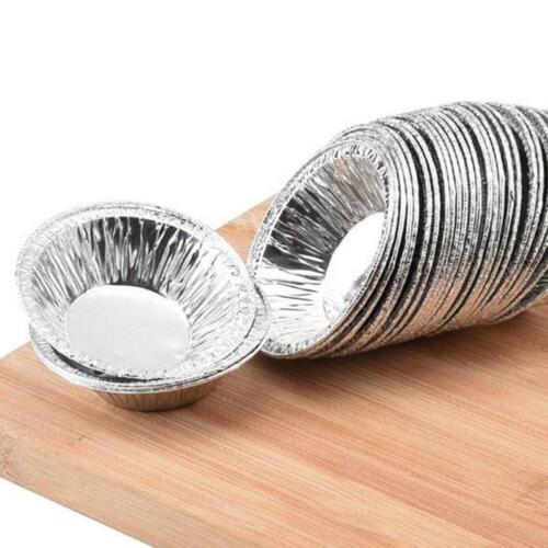 100* Disposable Aluminum Foil Tart Pan Mini Pot Pie Tin Bake Mold Plate D8N5