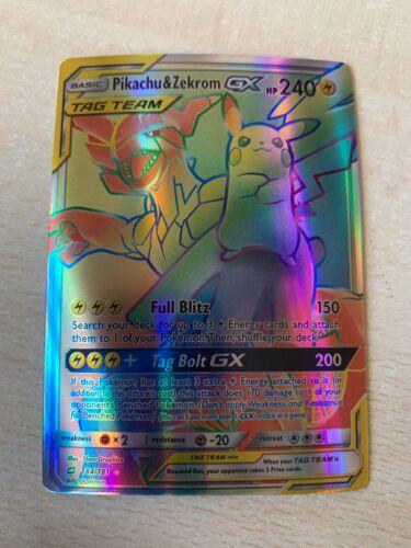 Pikachu /& Zekrom GX Tag Team Team Up ENG Full Art FA Hyper Rare NM OriCa