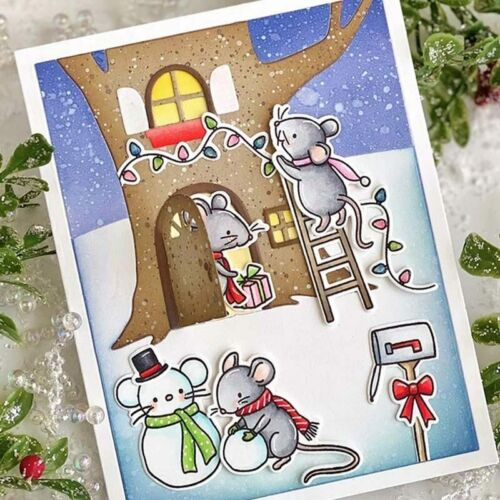More Holiday Winter Mice Stamps /& Cutting Dies Set w Mailbox Bird Lights Ladder