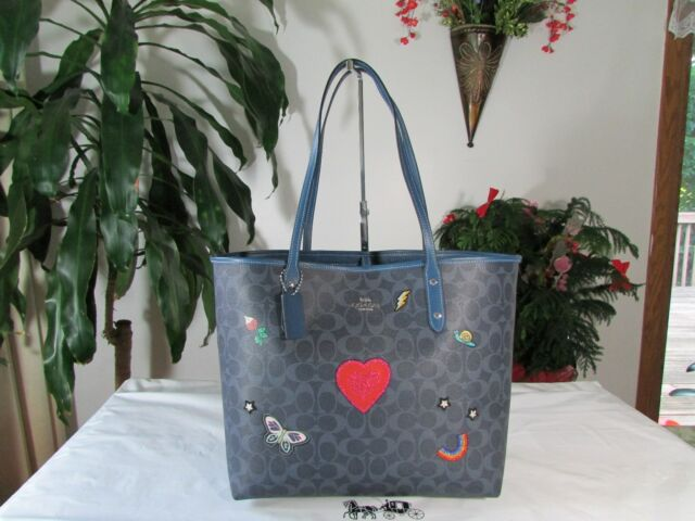 ed172202bfb NWT Coach Signature Denim Blue Souvenir Embroidery City Tote F24592 Denim
