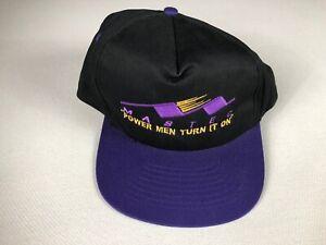 Mastec Double Snapback Hat VTG Cap Power Men Turn It On Black Purple Yellow
