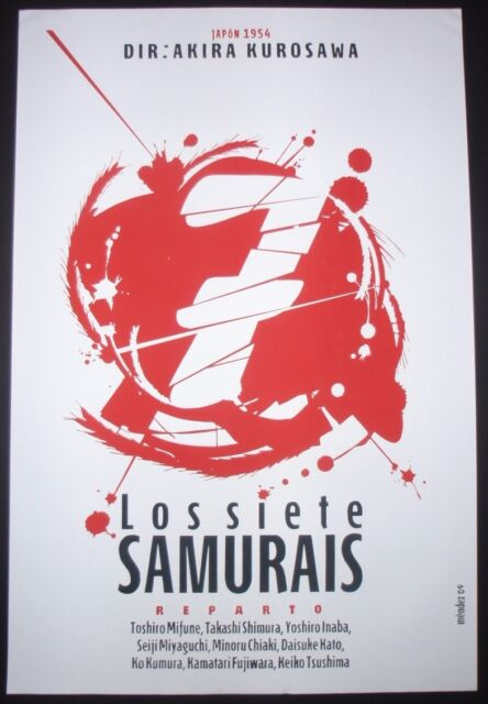 7 SAMURAI Original Cuban Silkscreen Tribute Poster for Japanese Movie / CUBA ART
