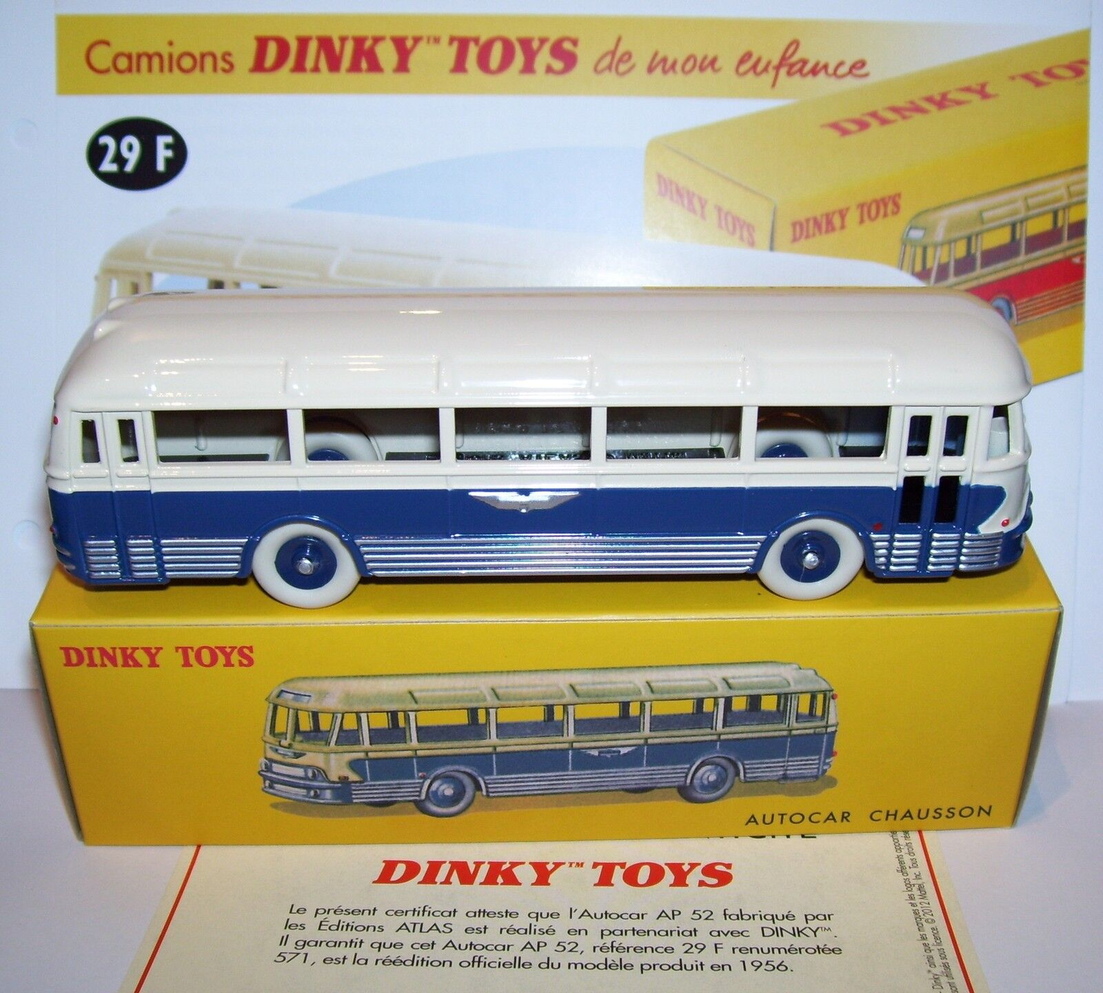 REEDITION DINKY TOYS ATLAS AUTOCAR AUTOBUS BUS CHAUSSON REF 29F 1 65 IN BOX