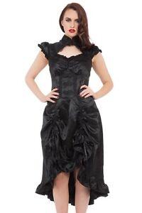 women's black gothic long steampunk victorian brocade