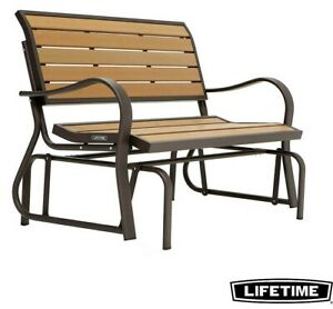 Swell Details About Lifetime Garden Outdoor Faux Wood Glider Bench Weather And Stain Resistant Creativecarmelina Interior Chair Design Creativecarmelinacom
