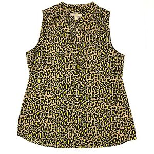 Banana republic sleeveless leopard print v neck brown yellow size 10 medium
