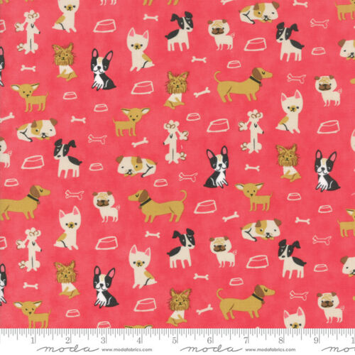 WOOF WOOF MEOW 20562 19 Pink STACY HSU Moda QUILT FABRIC Dogs Cats