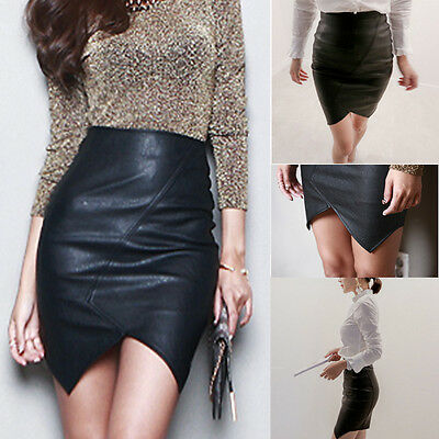 Fashion Black Skirt Faux Leather Pencil New Women Sexy High Waist Size S M L
