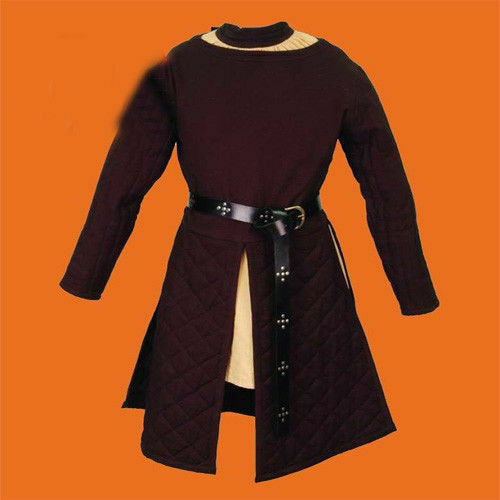 Details about  /Thick Padded Brown Gambeson Coat Aketon Medieval COSTUMES DRESS SCA F8