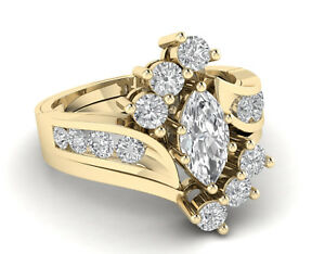 3-00-Ct-Marquise-Cut-Diamond-14k-Yellow-Gold-Over-Womens-Cluster-Engagement-Ring