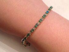 "14k Yellow Gold Emerald and Diamond Tennis Bracelet 6 1/2"" 4.75 Ct - 9.6 Grams"