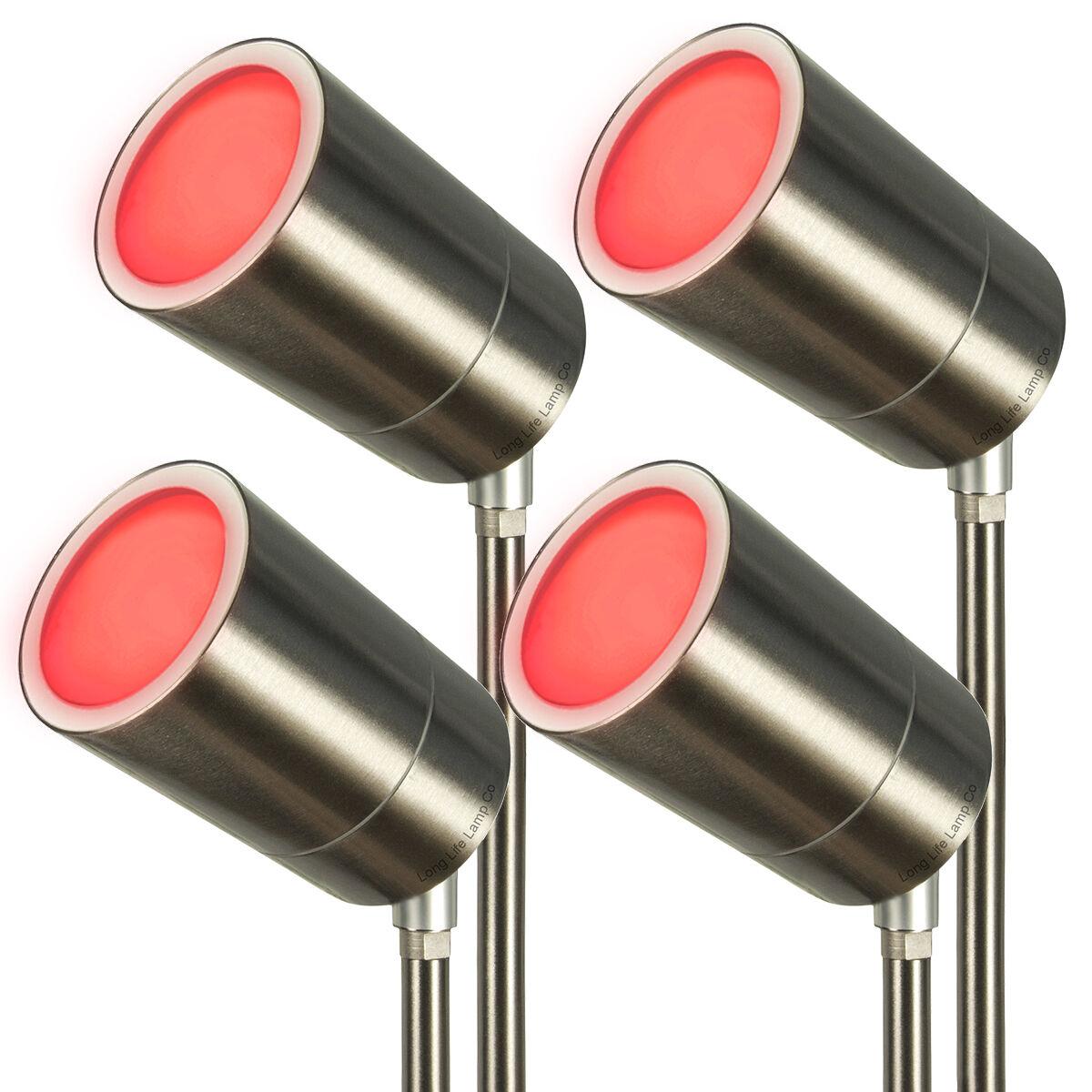 4 Pack Stainless Steel Outdoor Garden Garden Garden Ground Spike Light Adjustable ZLC0201 000fd1