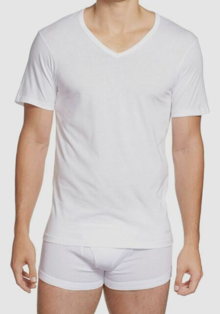 $45 Calvin Klein Undershirt Men's White NB1177 Slim Fit V-Neck T-Shirt Size XL