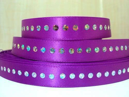 1 METRE PURPLE DIAMONTE AFFECT RIBBON SIZE 5//8 BOWS HEADBANDS BABY HAIR