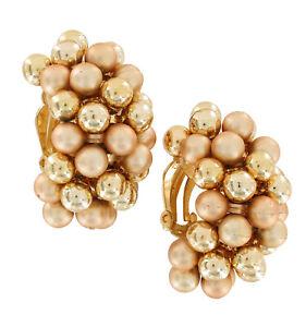 "Vintage Large Huggie Hoop Matte Shiny Gold Tone Beaded Clip On Earrings 1 1/2"""