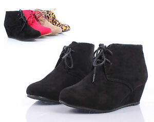 ebbbb0286f7e8 Details about Black nn Faux Suede Lace Up Girls Wedge Heels Kids Ankle  Boots Youth Size 4