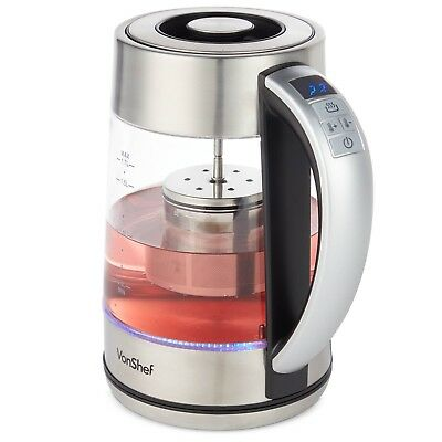 VonShef Tea Infuser Kettle Electric Glass Variable Temperature Control 2000W