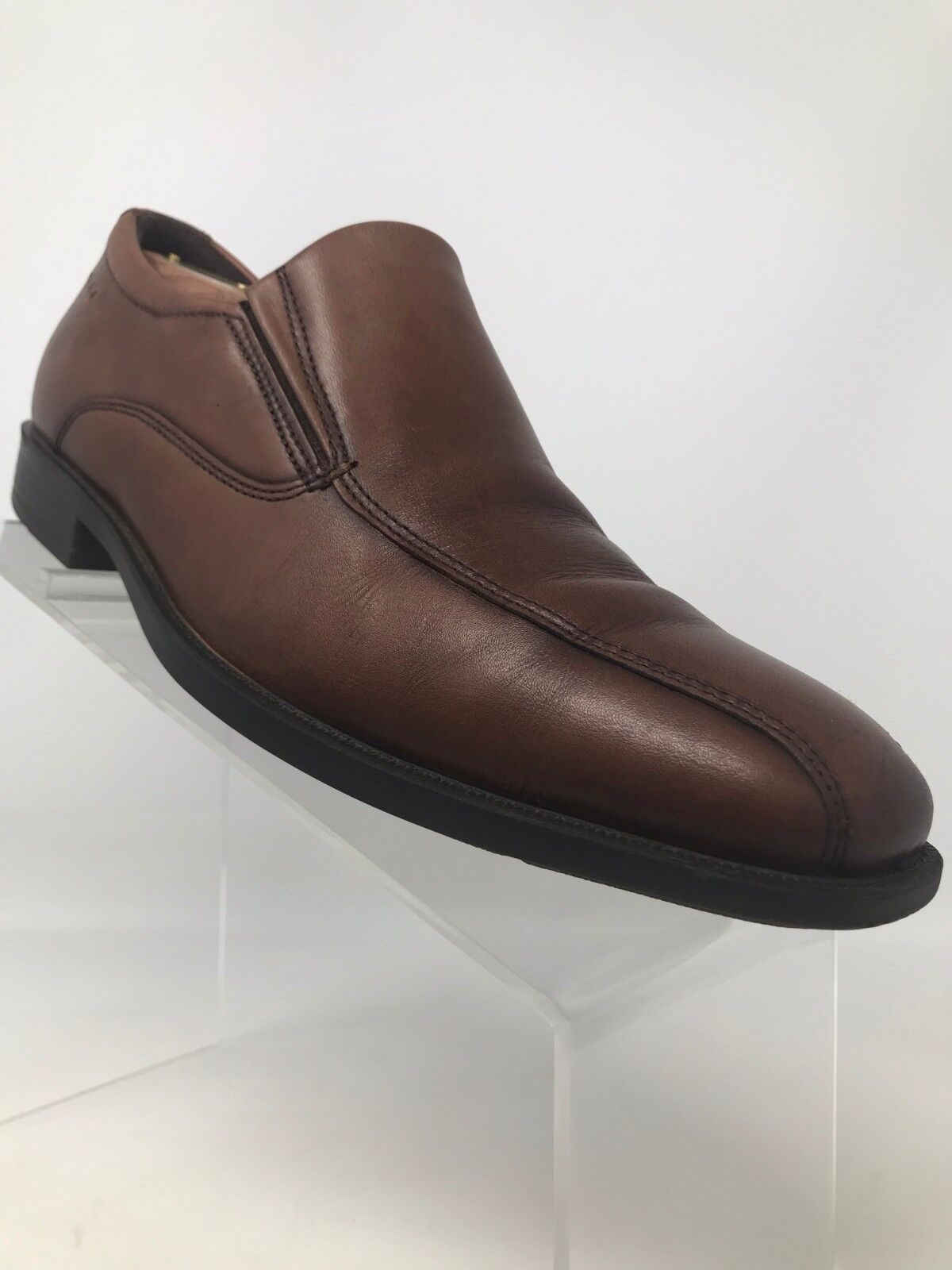 Ecco Brown Leather Loafer Slip On Bicycle Toe Men US 7