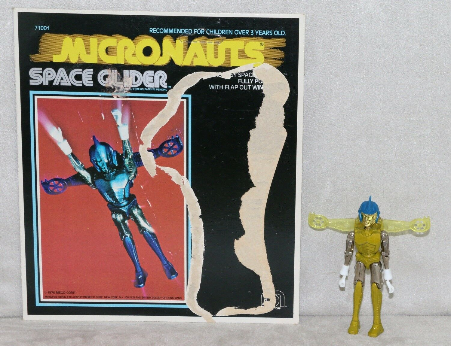 Mego Micronauts 1976 Space Glider giallo Complete with Card All Original