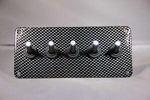 LED toggle switches - WHITE - w/ carbon fiber panel