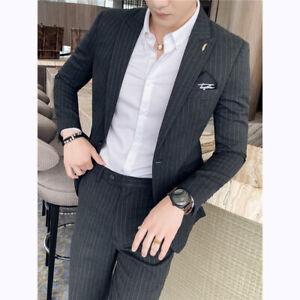 Mens Blazer Suit Casual One Button Wedding Business Formal Jacket Coat Pant 2Pcs