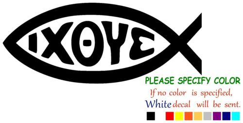 "IXOYE FISH Ichthys Vinyl Decal Sticker Car Sticker  Window bumper Window 12/"""