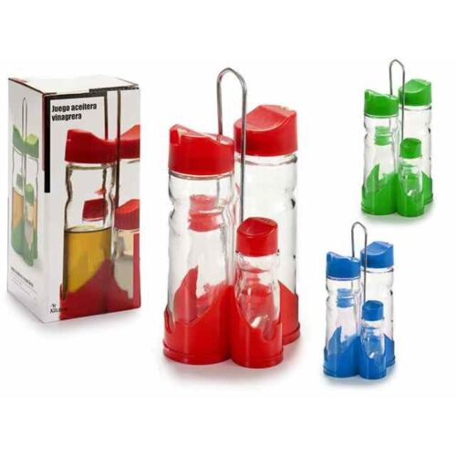 Set Menage 4 Pz In Vetro Olio Aceto Sale Pepe Con Struttura Plastica Colora idea