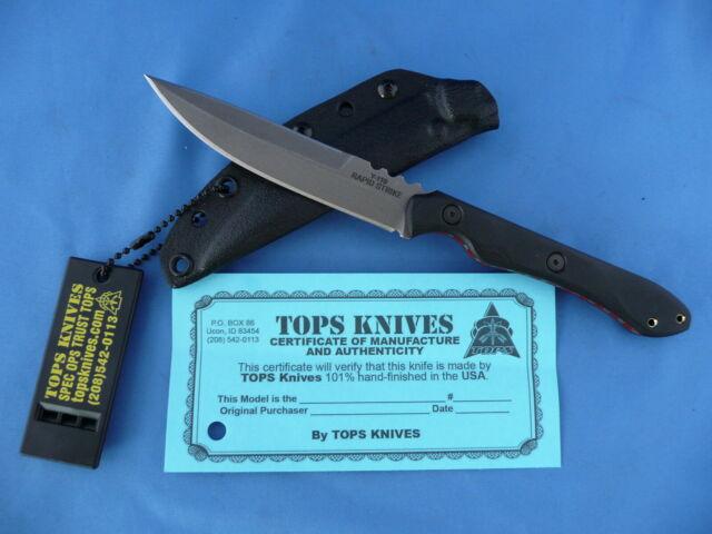 TOPS Rapid Strike Knife 154CM Stainless Steel Double Edge Kydex Sheath USA Made