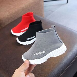Toddler Boys Girls Trendy Sneakers Mesh Solid Red Grey Black Breathable Shoes