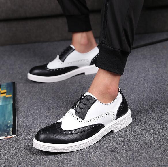 Men's Korean Fashion shoes Business Brogue Leather Breathable Oxfords Lace Up Sz