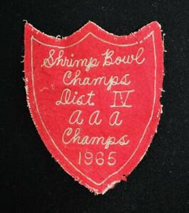 VINTAGE-1965-SHRIMP-BOWL-CHAMPIONS-RED-AND-WHITE-PATCH-4-034-X-5-034