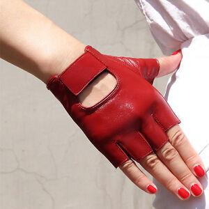 Real Leather Fingerless Short Gloves Black White Red Stud ...