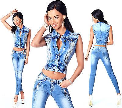 Sexy Women's Stylish Wash Cropped Jacket / Jeans Skinny Slim Low Waist A 594