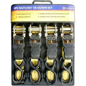 4PC-1-034-RATCHET-STRAP-TIE-DOWN-SET-ROOF-RACK-CARGO-TRAILER-MARQUEE-25MM-x-4-5M